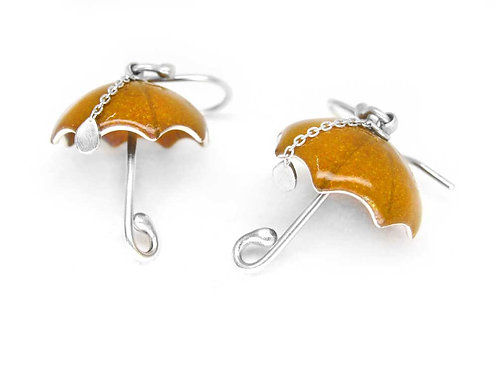 Yellow and orange enamel and recycled sterling silver umbrella earrings
