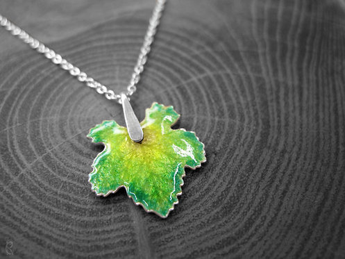 Spring Vine - Recycled Silver and Enamel Leaf Necklace