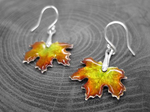 Autumn Maple - Recycled Silver and Enamel Leaf Earrings