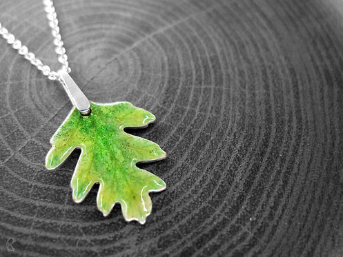 Spring Hawthorn - Recycled Silver and Enamel Leaf Necklace