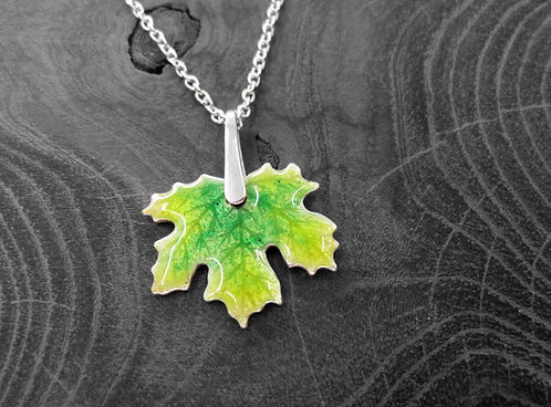 Spring Maple - Recycled Silver and Enamel Leaf Necklace.jpg