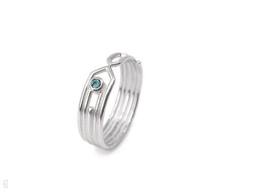 Handmade recycled sterling silver and tourmaline minimalist art deco engagement ring
