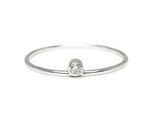 Recycled sterling silver and lab-made cubic zirconia minimalist ethical ring - front view