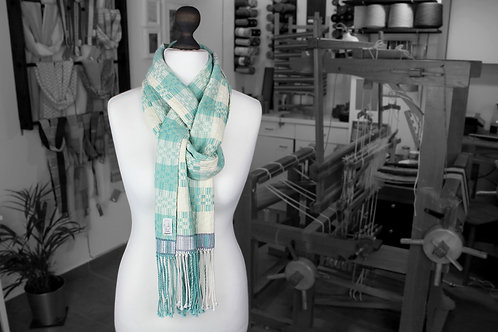 Teal, blue, white and yellow organic cotton and linen handwoven scarf