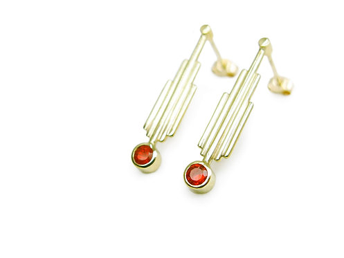 Sanctuary » 18k yellow gold and fairtrade mexican fire opal Art Deco minimalist earrings
