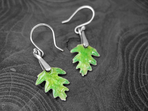 Spring Hawthorn - Recycled Silver and Enamel Leaf Earrings