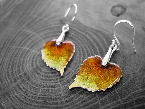 Autumn Linden - Recycled Silver and Enamel Leaf Earrings
