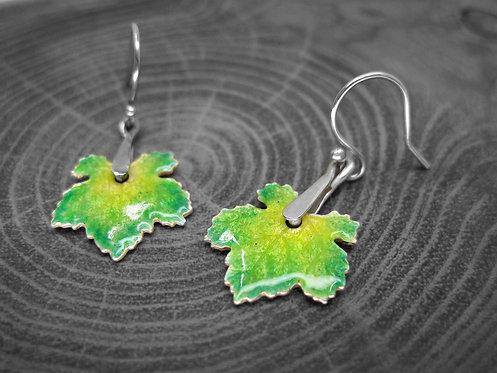 Spring Vine - Recycled Silver and Enamel Leaf Earrings