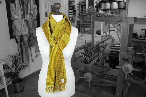 Yellow and brown handwoven organic scarf made with organic cotton and organic linen