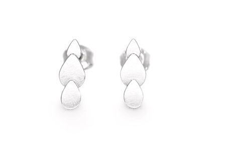 Minimalist recycled sterling silver droplet shaped stud earrings - front view