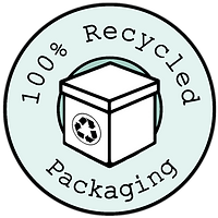 100% recycled packaging badge