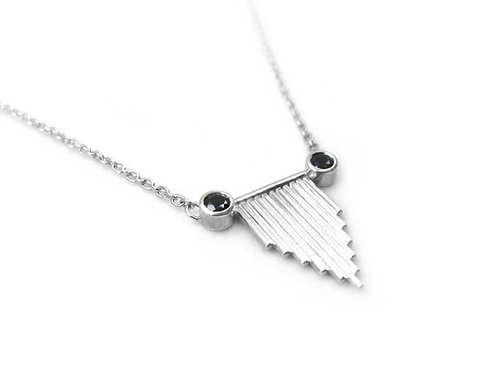 Recycled sterling silver and black spinel necklace
