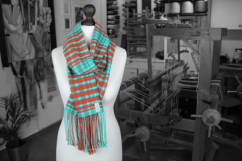 Orange and teal organic cotton and linen handwoven tartan scarf