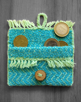 Teal and green handwoven small purse/bag