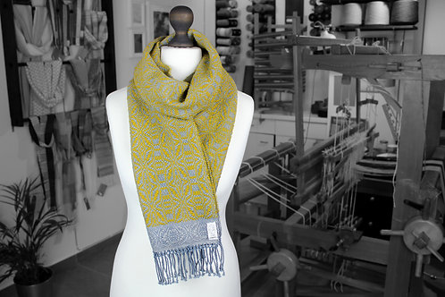 Yellow and grey wool and cotton handwoven organic scarf