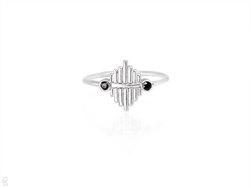 Handmade recycled sterling silver and fairtrade black spinel minimalist art deco ring