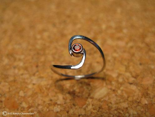 Granat Drehung » Sterling-Silber und Granat Ring