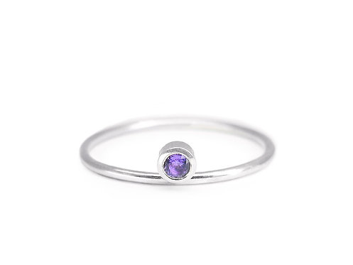 Equilibrium - recycled sterling silver and amethyst ring - Art Deco minimalist ring