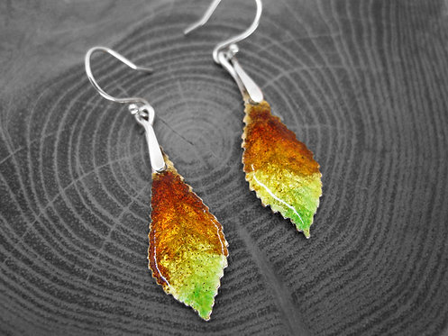 Autumn Chestnut - Recycled Silver and Enamel Leaf Earrings