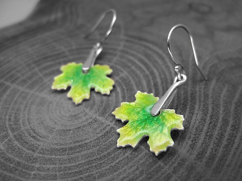 Spring Maple - Recycled Silver and Enamel Leaf Earrings