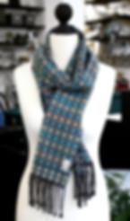 Organic hand-woven scarf - organic cotton, organic linen, organic wool