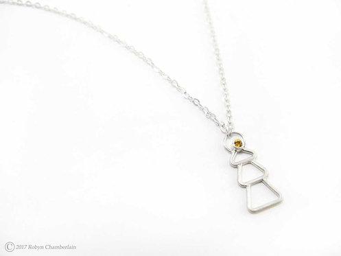 Goldene Tanne » Sterling-Silber und Citrin Halskette