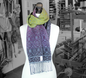 Variegated purple and green wool and org