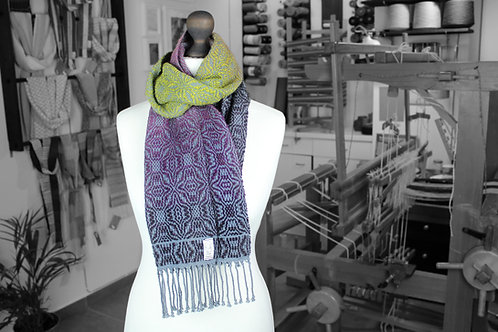 Variegated purple and green wool and organic cotton handwoven scarf