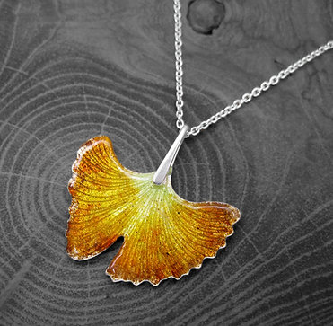 Autumn Ginkgo » Recycled Silver and Enamel Necklace