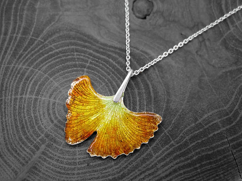 Autumn Ginkgo - Recycled Silver and Enamel Leaf Necklace