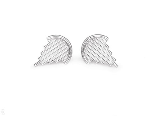 Triumph - Minimalist recycled sterling silver handmade stud earrings