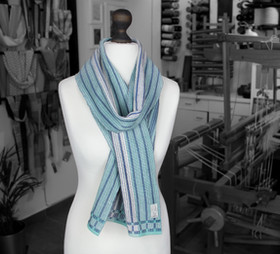 Blue, teal and white organic handwoven s