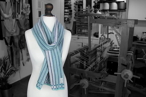 Blue, teal and white organic handwoven scarf