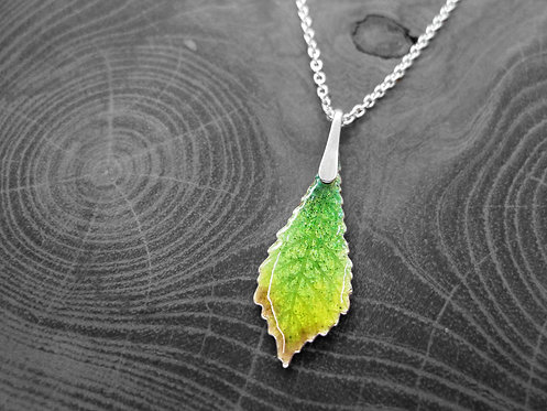Spring Chestnut - Recycled Silver and Enamel Leaf Necklace