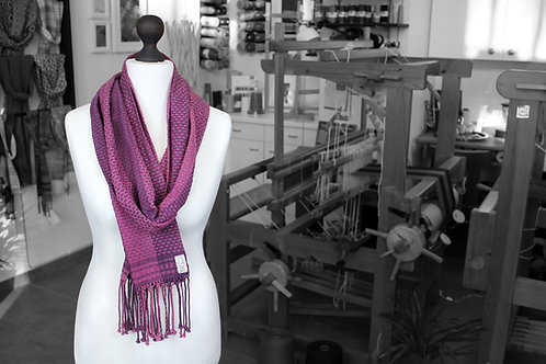 Pink and purple handwoven organic scarf made with organic cotton and organic linen