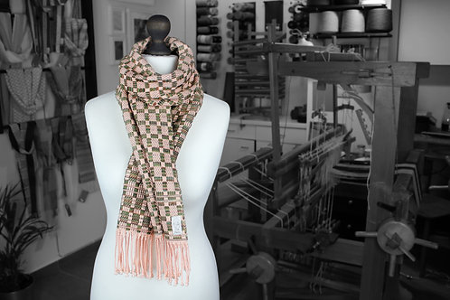 Peach, green and brown handwoven organic wool and cotton scarf