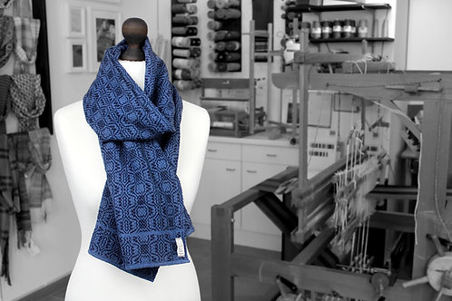 Hand-woven recycled blue denim jeans scarf