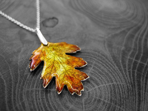 Autumn Hawthorn - Recycled Silver and Enamel Leaf Necklace