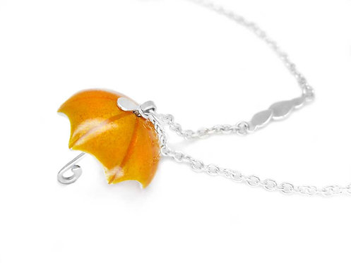 Orange enamel and recycled sterling silver umbrella necklace