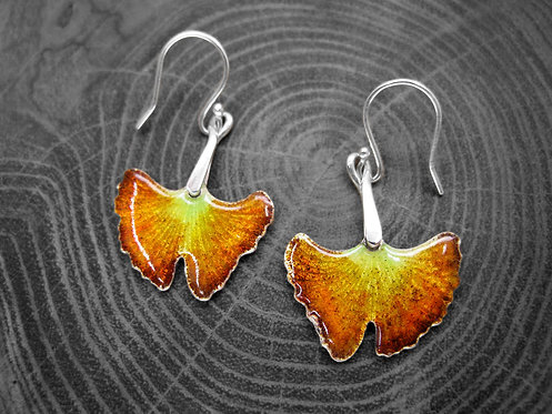 Autumn Ginkgo - Recycled Silver and Enamel Leaf Earrings