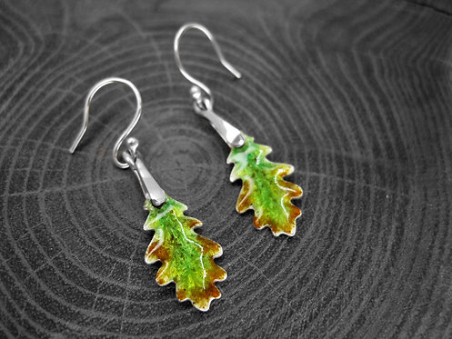 Spring Oak - Recycled Silver and Enamel Leaf Earrings