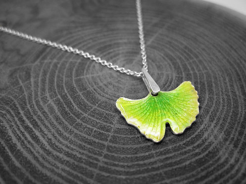 Spring Ginkgo - Recycled Silver and Enamel Leaf Necklace