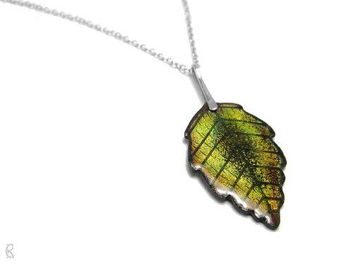 Autumn Elder - Sterling Silver and Enamelled Leaf Necklace