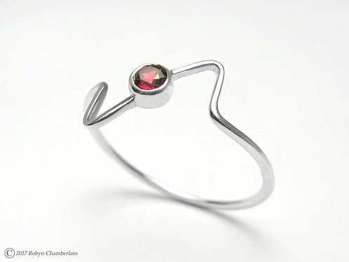 Zick-Zack-Rhodolith » Sterling-Silber und Granat Ring