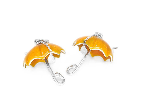 Orange enamel and sterling silver umbrella earrings