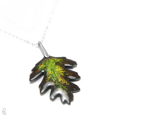 Autumn Hawthorn - Sterling Silver and Enamel Leaf Necklace