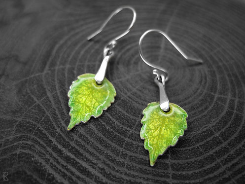 Spring Birch - Recycled Silver and Enamel Leaf Earrings