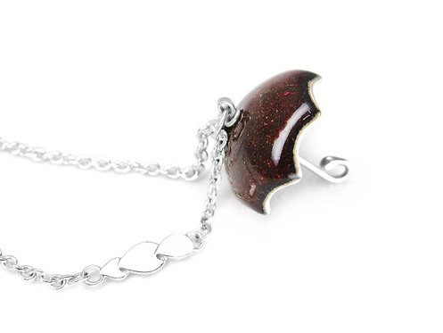 Dark red enamel and recycled sterling silver umbrella necklace
