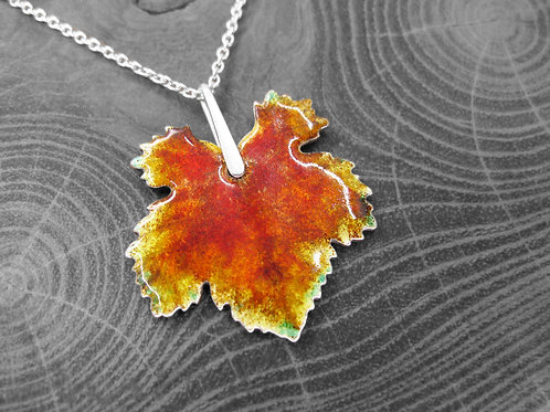 Autumn Vine - Recycled Silver and Enamel Leaf Necklace