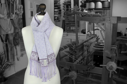 Purple and with organic handwoven cotton scarf
